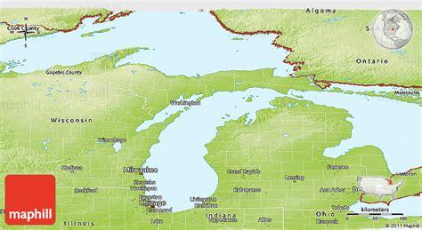 physical map of michigan physical panoramic map of michigan