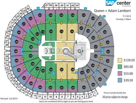 sap center seating chart sap center adam lambert