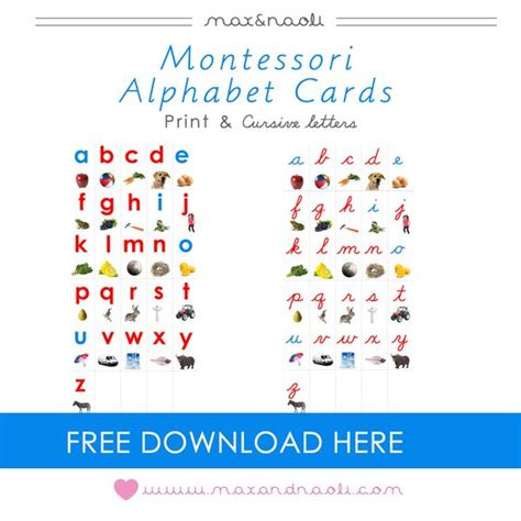 printable montessori pdf alphabet cards montessori and numbers on pinterest