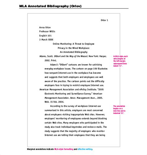 mla annotated bibliography template download free