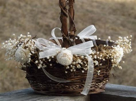 rustic flower basket with preserved babys breath sola