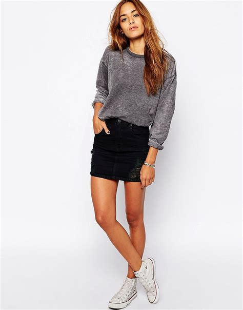 zee gee why zee gee why ripped denim mini skirt at asos