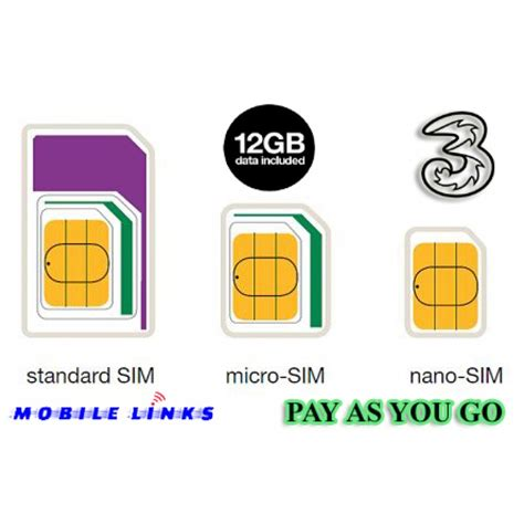payg mobile 3 mobile 4g trio payg sim pack preloaded with 12gb data
