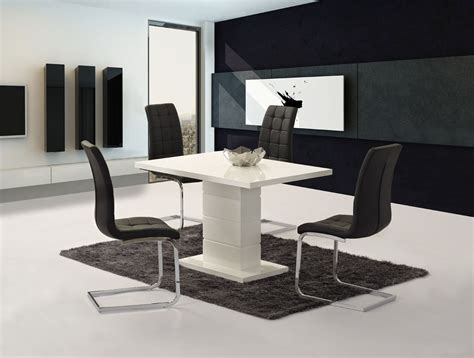 Compact Dining Table And Chair Sets Livio White High Gloss Contemporary Designer 120 Cm Compact Dining 4 White Black Chairs