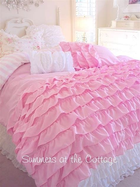 Perfectly Pink Dreamy Ruffles Shabby Cottage Chic Pink Ruffle Bedding