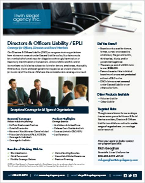 Directors And Officers Insurance For Non Profit Organizations by Liability Insurance D O Epli Irwin Siegel Agency Inc