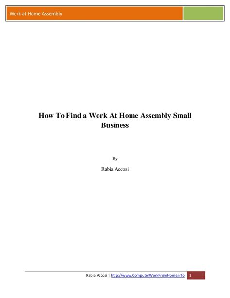 how to find a work at home assembly small business