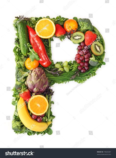 p letter fruits fruit and vegetable alphabet letter p stock photo