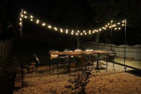Outdoor Patio Hanging String Lights How To Hang Outdoor String Lights All Home Design Ideas
