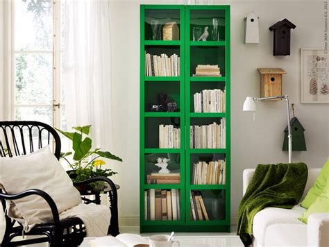green yellow ikea bookcases