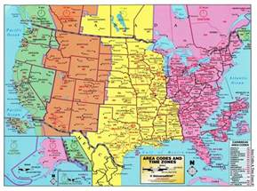large detailed map of area codes and time zones of the usa