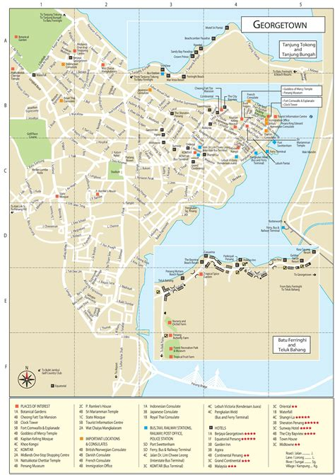 printable map georgetown penang george town tourist attractions map