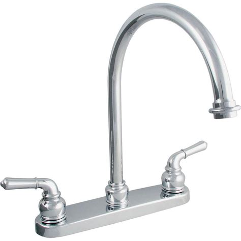 Kitchen Faucet Handle Ldr Industries 2 Handle Standard Kitchen Faucet In Chrome 15728504 The Home Depot