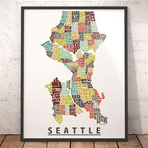 seattle map etsy seattle map seattle print seattle typography map
