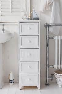 Narrow Bathroom Storage Cabinet Maine Narrow Freestanding Bathroom Cabinet With 5 Drawers For Storage
