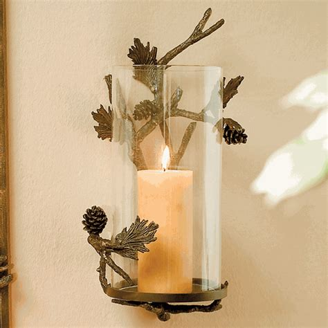 Candle Holder Wall Decor by Rustic Candle Holders Pinecone Wall Candle Sconce Black