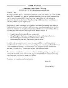 letter of application quality assurance letter of application