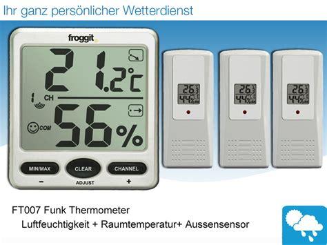 funk wanduhr digital groß funk thermometer ft007 mit 3 aussensensoren digital