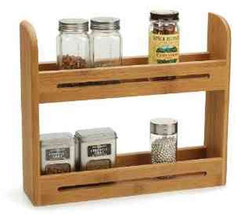 new bamboo spice rack display organize storage kitchen