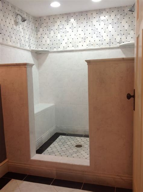 bathroom showers ideas pictures doorless carrara marble shower traditional bathroom