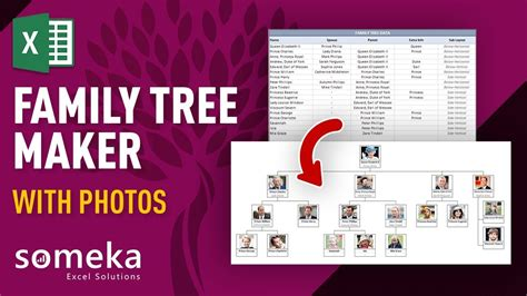family tree maker   automatic excel template
