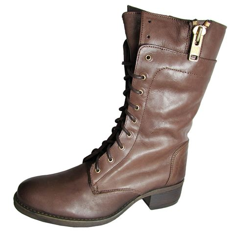 Steve Madden Boots by Steve Madden Womens Leader Lace Up Leather Boot Ebay