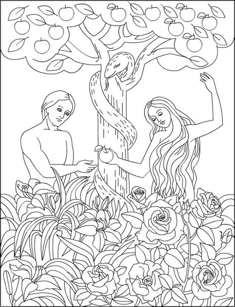adam  eve   garden  eden bible coloring page