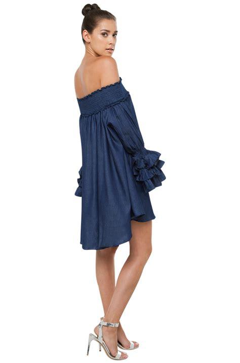 Dress Denim Longhem Denim Belt Tunik Denim lyst gracia shoulder denim mini dress in blue