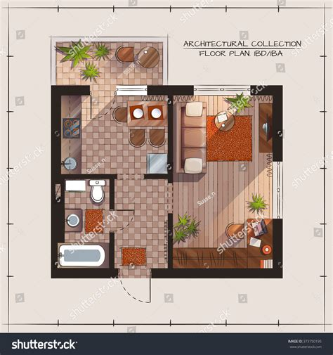 architectural color floor plan furniture top stock vector architectural color floor plan bedroom apartment stock