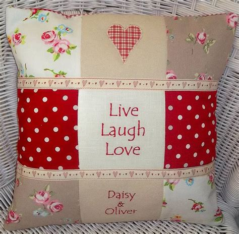 Ideas For Patchwork - live laugh cushion by tuppenny house designs