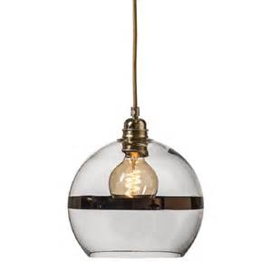 Clear Glass Pendant Lights Small Clear Glass Globe Ceiling Pendant Light With Copper Stripe