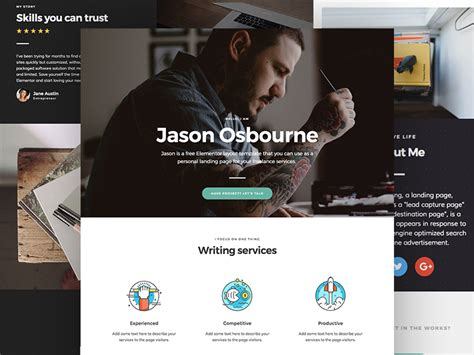 personal landing page template for elementor free personal landing page template for elementor free