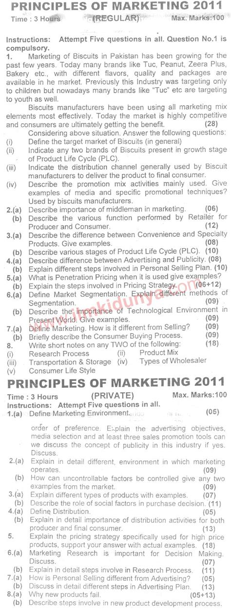 Mba Past Papers Karachi Affiliated Colleges by Karachi Principles Of Marketing Bcom Part 2