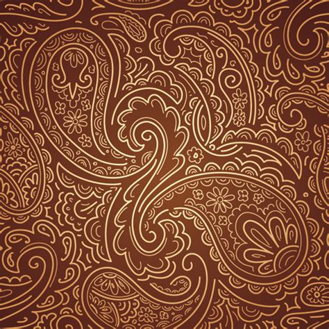 brown pattern free set of brown paisley patterns vector material 03 vector