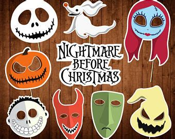 halloween photo booth props printable pdf nightmare before christmas decor etsy