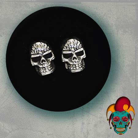 tattoo parlor earrings skull face silver earrings village tattoo nyc