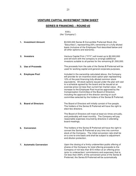 venture capital investment template term sheet outline images