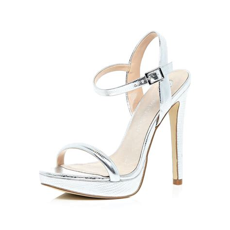 silver heeled sandals river island silver barely there heeled sandals in gray grey