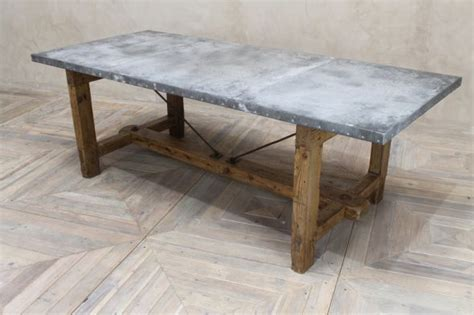 Zinc Top Round Table Industrial Style Dining Table Zinc Dining Room Table