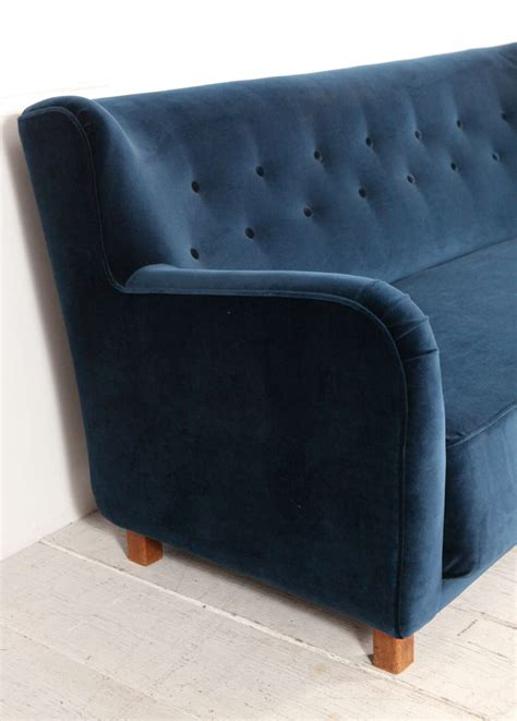 Italian Modernist Blue Velvet Curved Back Tufted Sofa At Blue Velvet Tufted Sofa