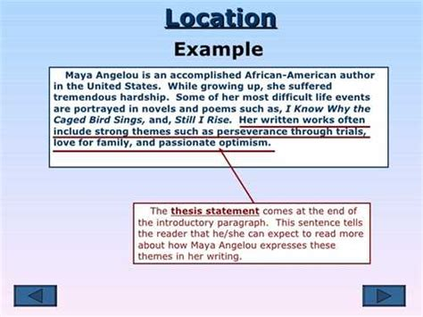Location Essay by Where A Thesis Statement Is Located In An Essay