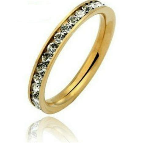 3mm deluxe gold stainless steel eternity cz womens wedding