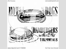 Clipart of Black and White Retro Hot Dog and Hamburger ... Hot Dog Clipart Black And White