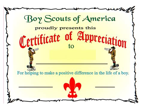 cub scout award card template bsa certificate of appreciation boy scout certificate of