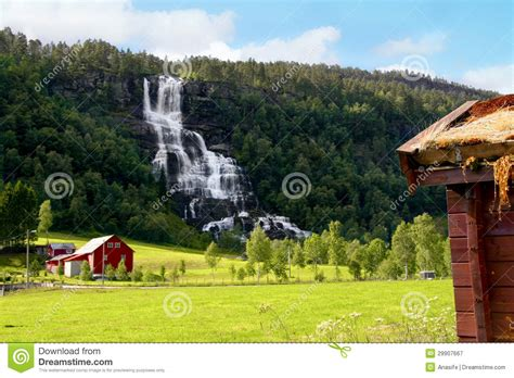 Waterfall Farm Cottages by Farm Next To A Waterfall In Royalty Free Stock