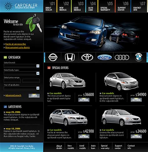 website templates for used car dealers car auto dealer website templates