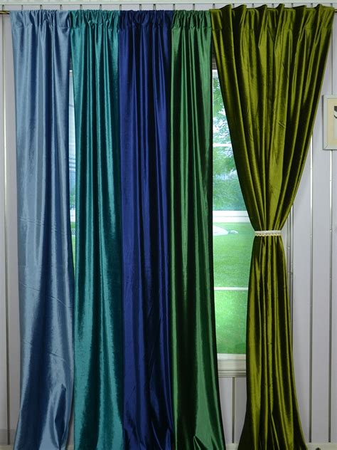 blue green drapes 63 inch 96 inch whitney green and blue solid blackout