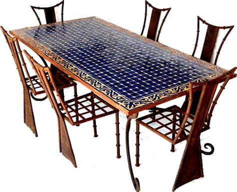 Wrought Iron Dining Room Sets moroccan dining mosaic table