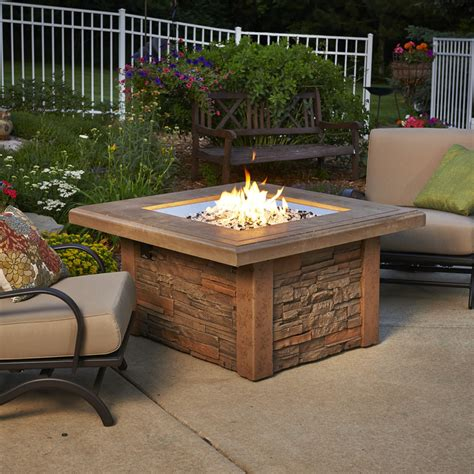 Shop Outdoor Greatroom Company 43 5 In W 80000 Btu Mocha Patio Table With Firepit