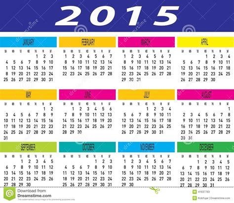 L Calendario 2015 Vector De La Plantilla Mensual Colorida Calendario